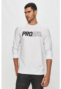 Biała koszulka z długim rękawem Prosto. z okrągłym kołnierzem, casualowa, z nadrukiem, na co dzień