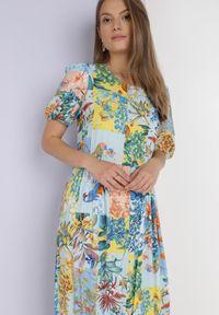 Born2be - Niebieska Sukienka Laomemoni. Okazja: na co dzień. Kolor: niebieski. Materiał: wiskoza, materiał. Długość rękawa: krótki rękaw. Wzór: aplikacja, kolorowy. Typ sukienki: proste. Styl: casual. Długość: maxi #5