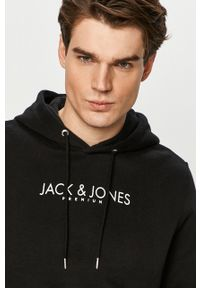 Czarna bluza nierozpinana Premium by Jack&Jones z nadrukiem, z kapturem