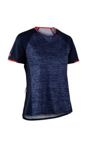 ROCKRIDER - Koszulka krótki rękaw na rower MTB ST 100 damska. Kolor: niebieski. Materiał: poliester, materiał. Długość rękawa: krótki rękaw. Długość: krótkie. Sport: kolarstwo