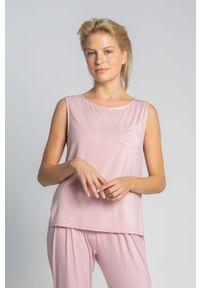 MOE - Koszulka-Top do Spania bez Rękawów - Różowa. Kolor: różowy. Materiał: wiskoza, elastan