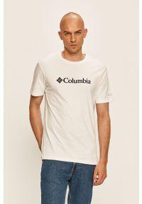Biały t-shirt columbia casualowy, z nadrukiem, z okrągłym kołnierzem, na co dzień