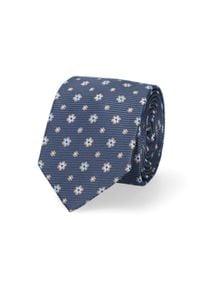 Lancerto - Krawat Granatowy w Kwiaty. Kolor: niebieski. Materiał: mikrofibra, materiał. Wzór: kwiaty. Styl: elegancki