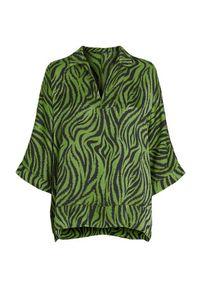 Zielona bluzka Amy's Stories z motywem zwierzęcym, z dekoltem w serek, elegancka, na imprezę