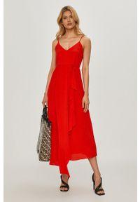 Czerwona sukienka TwinSet klasyczna, rozkloszowana, gładkie