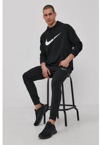 Nike - Bluza. Kolor: czarny. Materiał: dzianina. Długość rękawa: raglanowy rękaw. Wzór: nadruk