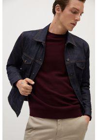 Brązowy sweter Mango Man casualowy, z długim rękawem, długi, na co dzień