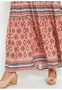 Pomarańczowa sukienka bonprix z nadrukiem, maxi