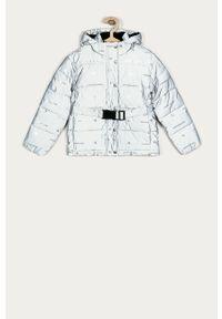 Szara kurtka Calvin Klein Jeans casualowa, z kapturem, na co dzień