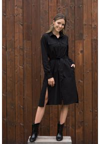 VEVA - Szmizjerka - czarna sukienka koszulowa Eternity. Okazja: do pracy. Kolor: czarny. Materiał: skóra. Długość rękawa: długi rękaw. Typ sukienki: koszulowe, szmizjerki. Styl: sportowy, klasyczny, elegancki #3