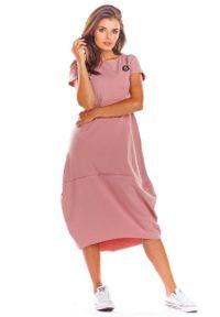 Infinite You - Różowa Codzienna Sukienka Bombka z Krótki Rękawem. Okazja: na co dzień. Kolor: różowy. Materiał: bawełna, lycra. Długość rękawa: krótki rękaw. Typ sukienki: proste, bombki. Styl: casual