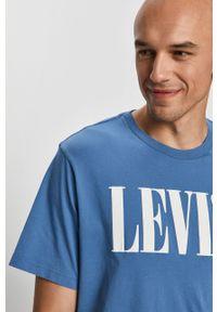 Niebieski t-shirt Levi's® biznesowy, na spotkanie biznesowe, z nadrukiem