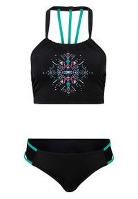 Bikini bustier (2 części), przyjazne dla środowiska bonprix czarny z nadrukiem. Kolor: czarny. Wzór: nadruk
