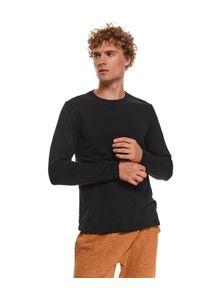 TOP SECRET - T-shirt ze strukturalnej dzianiny. Kolor: czarny. Materiał: dzianina