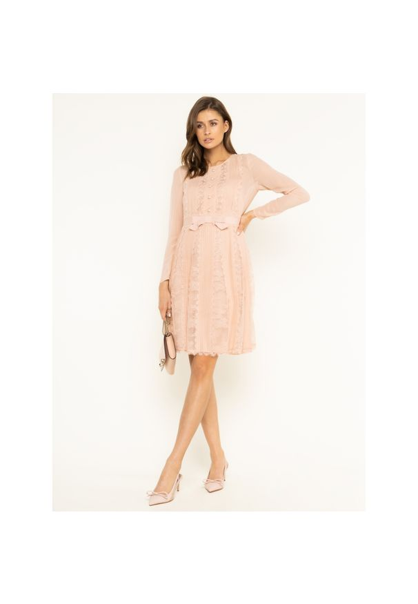 Różowa sukienka koktajlowa Luisa Spagnoli wizytowa