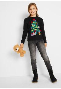 Sweter dziewczęcy z bożonarodzeniowym motywem bonprix Sweter dziew bożon czar. Kolor: czarny. Materiał: materiał, akryl. Wzór: aplikacja #4