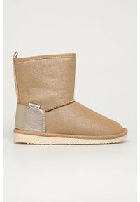 Beżowe buty zimowe Pepe Jeans z cholewką, na zimę, z okrągłym noskiem