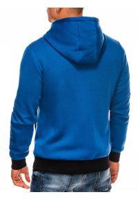 Ombre Clothing - Bluza męska rozpinana z kapturem B297 - niebieska - XXL. Typ kołnierza: kaptur. Kolor: niebieski. Materiał: poliester, dzianina, bawełna