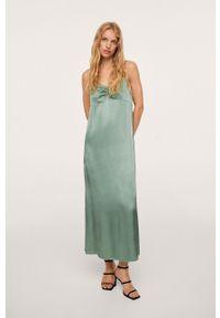 mango - Mango - Sukienka Eslipi. Okazja: na co dzień. Kolor: zielony. Długość rękawa: na ramiączkach. Typ sukienki: proste. Styl: casual