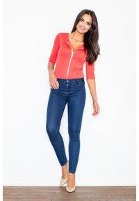 Figl - Nowoczesna Koralowa Bluzka - Body z Długim Suwakiem. Kolor: pomarańczowy. Materiał: wiskoza, poliester, elastan. Długość: długie