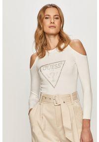 Guess - Sweter. Kolor: biały. Materiał: dzianina. Długość rękawa: długi rękaw. Długość: długie. Wzór: aplikacja