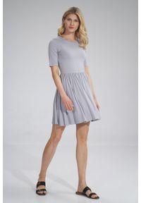 e-margeritka - Sukienka wiskozowa na lato rozkloszowana szara - l. Kolor: szary. Materiał: wiskoza. Sezon: lato. Typ sukienki: rozkloszowane