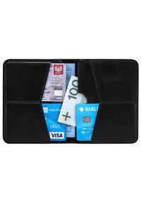 Cienki skórzany portfel męski Solier SW10 czarny. Kolor: czarny. Materiał: skóra