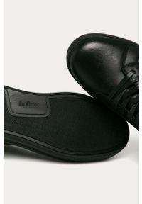 Czarne sneakersy Lee Cooper z cholewką, z okrągłym noskiem, na sznurówki