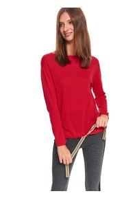 TOP SECRET - Sweter z wiązaniem u dołu. Okazja: do pracy, na co dzień. Kolor: czerwony. Materiał: materiał. Długość rękawa: długi rękaw. Długość: długie. Sezon: zima. Styl: casual