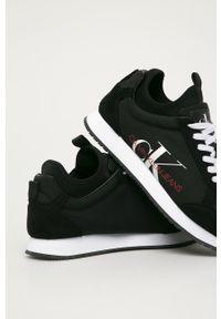 Czarne sneakersy Calvin Klein Jeans na sznurówki, z cholewką, z okrągłym noskiem