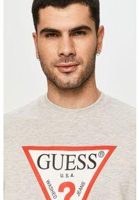 Szara bluza nierozpinana Guess z nadrukiem, bez kaptura, na co dzień