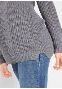 Szary sweter bonprix moda ciążowa, melanż