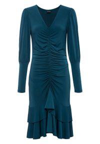 Niebieska sukienka bonprix z dekoltem w serek, z długim rękawem, elegancka