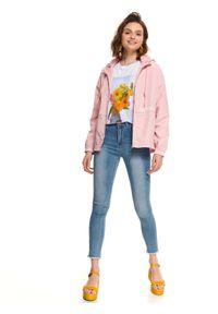 Różowa kurtka TOP SECRET z długim rękawem, długa, z kapturem