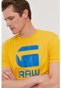 Żółty t-shirt G-Star RAW na co dzień, casualowy, z nadrukiem