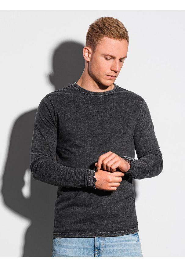 Ombre Clothing - Longsleeve męski bez nadruku L131 - czarny - XXL. Kolor: czarny. Materiał: bawełna. Długość rękawa: długi rękaw
