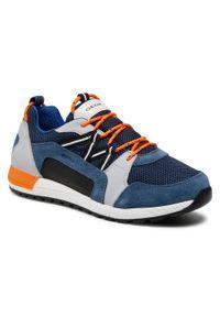 Geox - Sneakersy GEOX - J Alben B. E J159EE 02214 C4263 D Avio/Grey. Okazja: na uczelnię, na spacer, na co dzień. Kolor: niebieski. Materiał: skóra, zamsz, materiał. Szerokość cholewki: normalna. Styl: casual