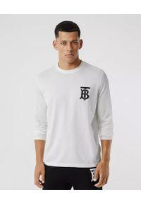 Burberry - BURBERRY - Biała koszulka z długim rękawem. Okazja: na co dzień. Kolor: biały. Materiał: bawełna, jeans. Długość rękawa: długi rękaw. Długość: długie. Wzór: nadruk. Styl: klasyczny, casual