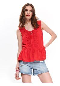 Czerwona bluzka TOP SECRET z krótkim rękawem, krótka