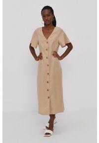 Vero Moda - Sukienka. Okazja: na co dzień. Kolor: beżowy. Materiał: tkanina, jedwab, materiał, lyocell. Długość rękawa: krótki rękaw. Wzór: gładki. Typ sukienki: proste. Styl: casual