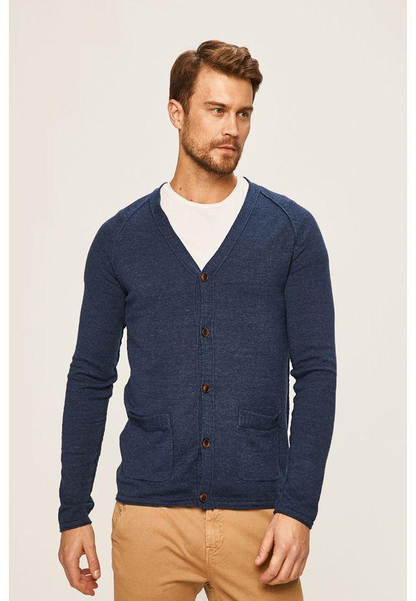 Niebieski sweter rozpinany Jack & Jones raglanowy rękaw
