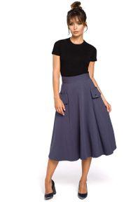 Niebieska spódnica rozkloszowana MOE
