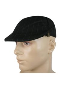 Czarna czapka w prążki, na lato
