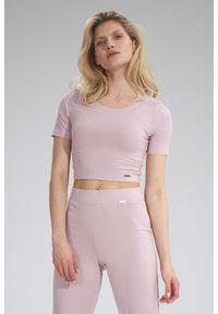 Figl - Krótka Dopasowana Bluzka - Różowa. Kolor: różowy. Materiał: wiskoza, elastan. Długość: krótkie