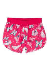 Szorty dziewczęce z dżerseju, bawełna organiczna bonprix różowy hibiskus. Kolor: różowy. Materiał: jersey, bawełna. Wzór: nadruk