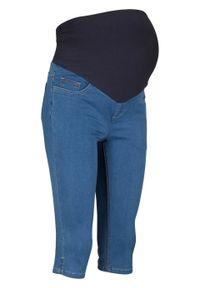 """Dżinsy rybaczki ciążowe bonprix niebieski """"stone"""". Kolekcja: moda ciążowa. Kolor: niebieski"""