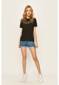 Czarna bluzka DKNY casualowa, z aplikacjami, na co dzień