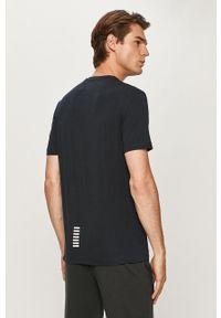 Niebieski t-shirt EA7 Emporio Armani z nadrukiem, casualowy
