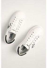 Białe buty sportowe Karl Lagerfeld z cholewką, na sznurówki, z okrągłym noskiem