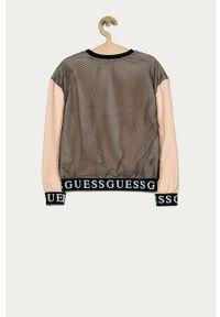 Różowa bluza Guess Jeans z nadrukiem, bez kaptura